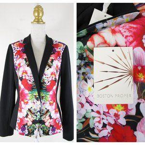 Boston Proper Black Pink Floral Blazer Jacket NWT